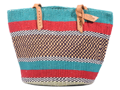 MWIKO: Handwoven Teal, Red and Yellow Wool Tote Bag