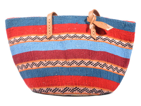 MWISHO: Handwoven Coral, Red and Blue Wool Tote Bag