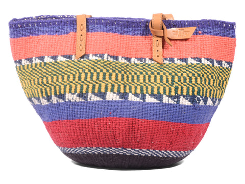 MWISHOWE: Handwoven Purple and Coral Wool Tote Bag