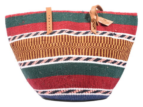 NCHI: Handwoven Green, Red and Yellow Wool Tote Bag