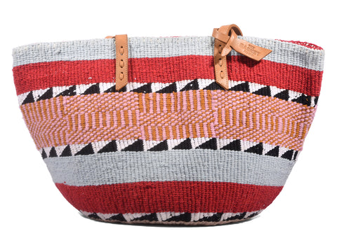NGWARE: Handwoven Red and Grey Wool Tote Bag