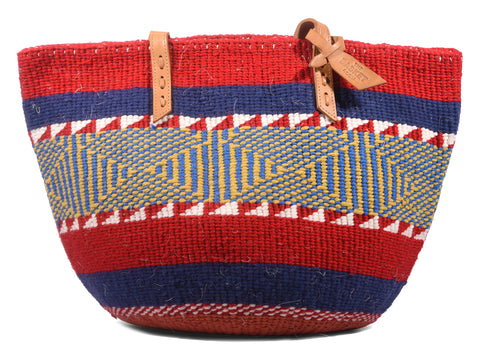 NYASI: Handwoven Blue, Red and Yellow Wool Tote Bag
