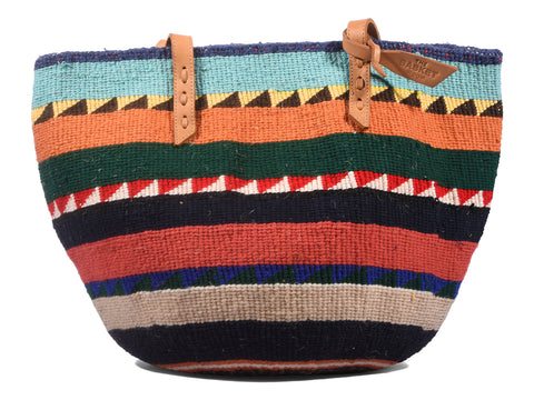 POTEZA: Handwoven Orange Multistripe Wool Tote Bag
