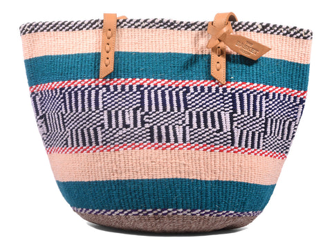 RAIS: Handwoven Peach, Teal and Lilac Wool Tote Bag