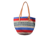 RARUA: Handwoven Red, Blue and Mint Wool Tote Bag