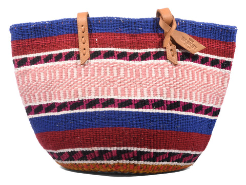 SIMAMA: Handwoven Blue, Maroon and Peach Wool Tote Bag