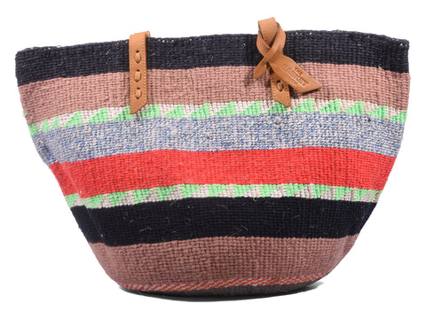 TANO: Handwoven Brown and Mint Wool Tote Bag
