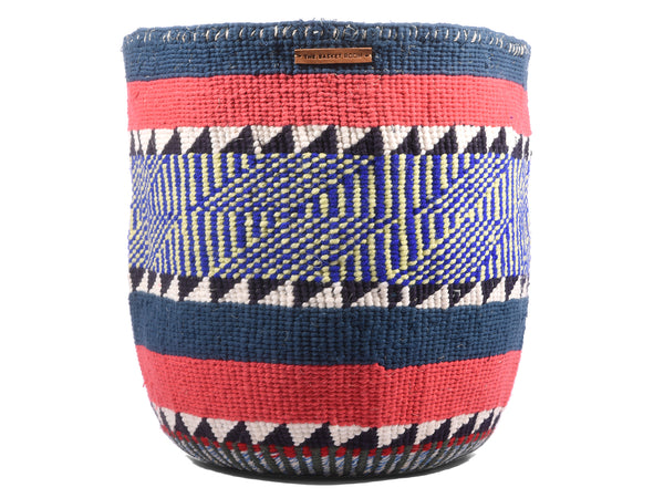 DHAKA: Extra Large Blue and Coral Wool Basket