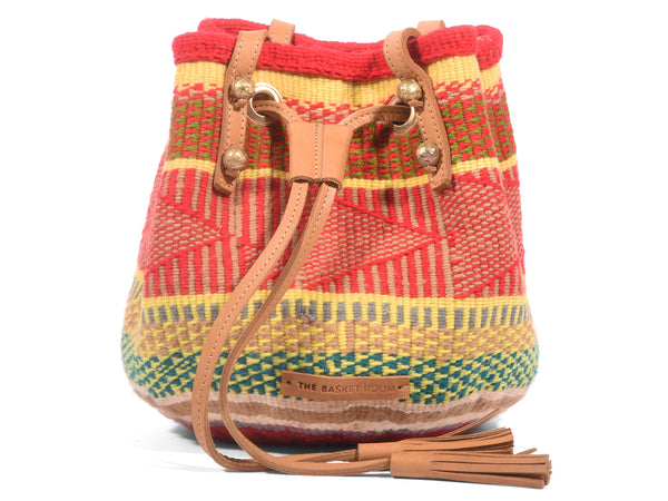 DUKA: Handwoven Red, Yellow and Green Wool Bucket Bag