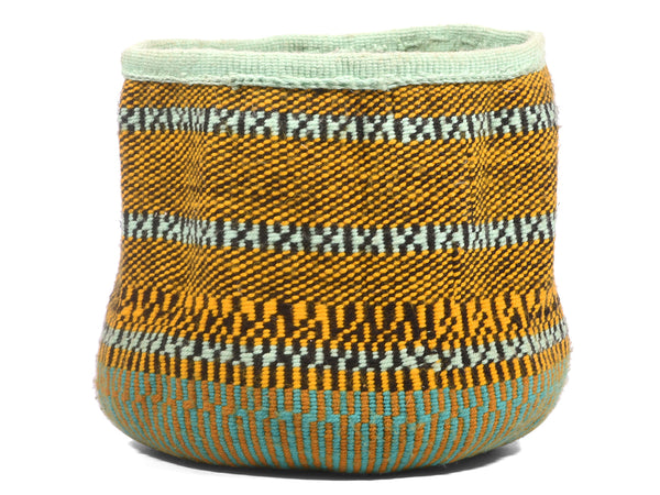 ANGALIA: Extra Small Orange and Mint Wool Basket