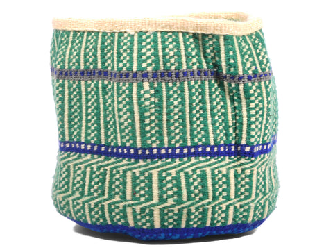 BARIDI: Extra Small Green, Cream and Blue Wool Basket