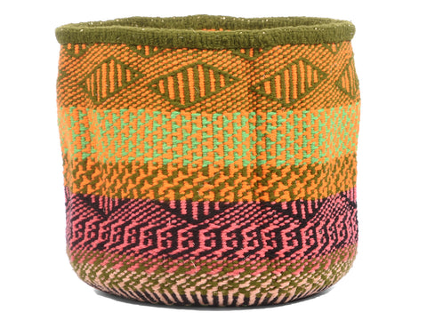 CHEKI: Extra Small Orange, Green and Pink Wool Basket