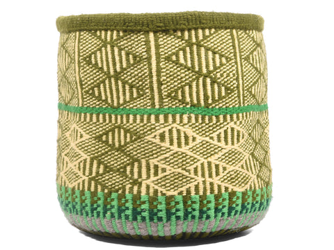 CHENGA: Extra Small Green Wool Basket