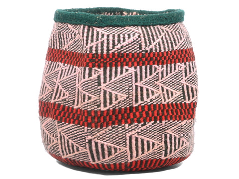 CHINI: Extra Small Pink, Green and Red Wool Basket