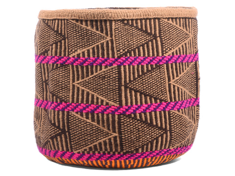 TUMBILI: Small Brown and Pink Wool Basket
