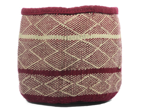 ZEEKA: Small Maroon and Ecru Wool Basket