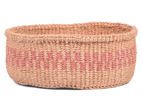 BINZARI: Pink Stripe Bread Basket