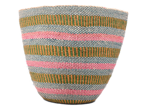 SIMAMA: Large Green, Pink and Blue Sisal Basket