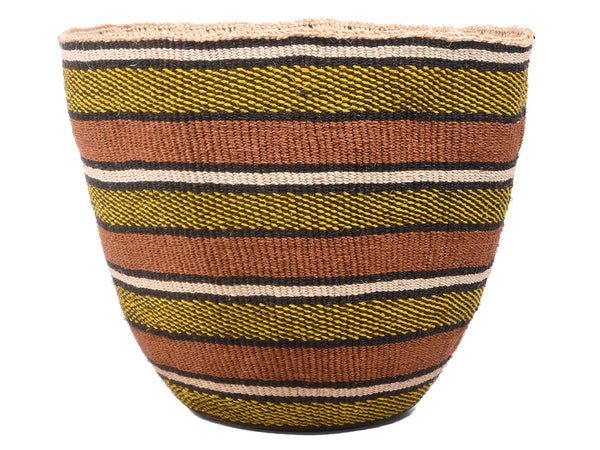 SKUMA: Large Yellow, Black and Brown Sisal Basket