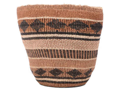 WAZO: Medium Brown and Black Sisal Basket