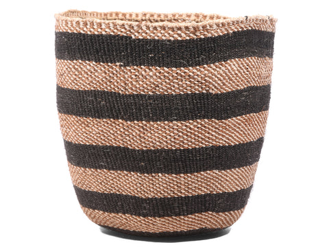 MAJADILIANO: Small Brown and Black Sisal Basket
