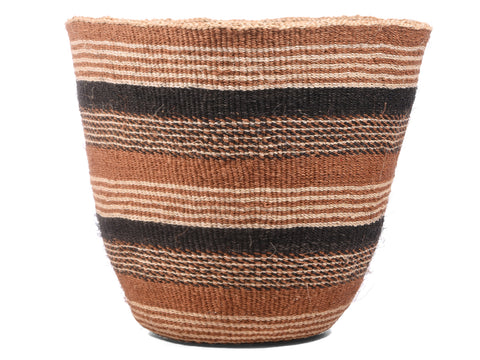 ORODHA: Medium Brown and Black Sisal Basket