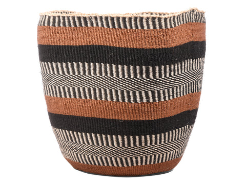 WAZI: Large Brown and Black Sisal Basket