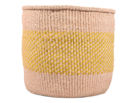 ZIARA: Large Yellow Check Sisal Basket