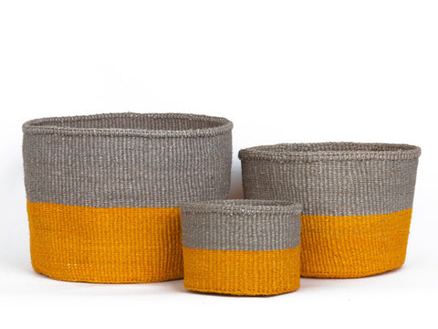 GHAFLO: Orange & Grey Duo Colour Block Woven Basket
