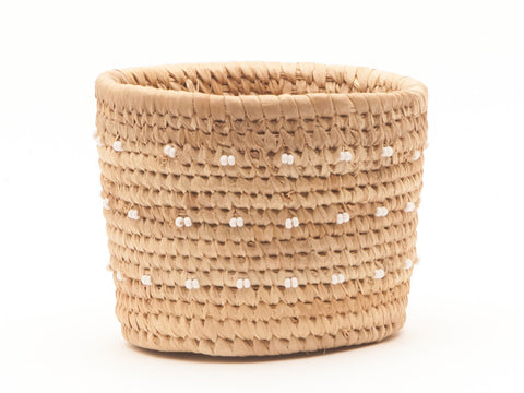 FURAHIA: White Spotted Beaded Basket