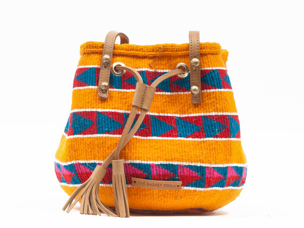 KAKA: Handwoven Yellow, Red and Blue Bucket Bag