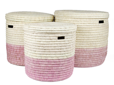 HAPA: Dusky Pink Colour Block Lidded Laundry Basket - Laundry Basket - The Basket Room