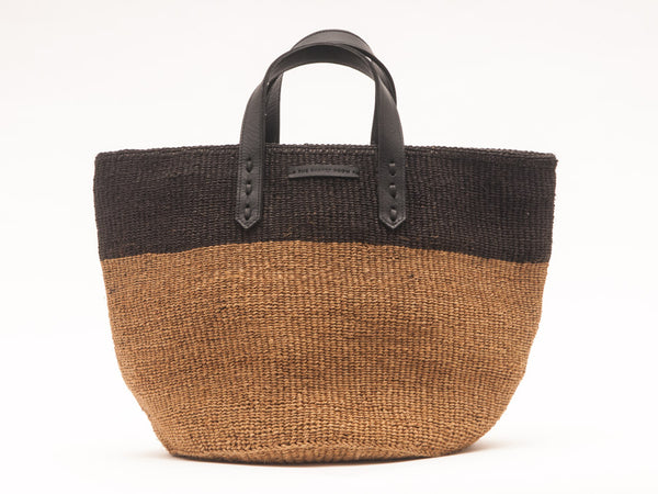 HIMIZA: Black & Khaki Sisal and Leather Shopper