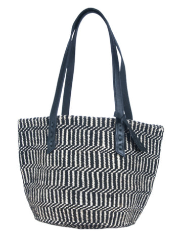 PEMBE: Handwoven Black Wool and Sisal Stripe Tote Bag