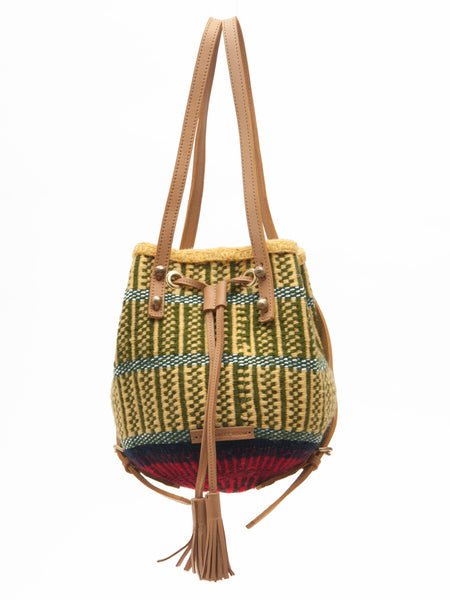 MAANDIKO: Handwoven Yellow and Green Backpack