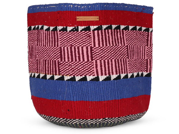 DHAKA: Extra Large Red, Blue and Pink Wool Basket