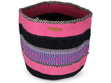 HISTORIA: Extra Large Pink, Blue and Black Wool Basket