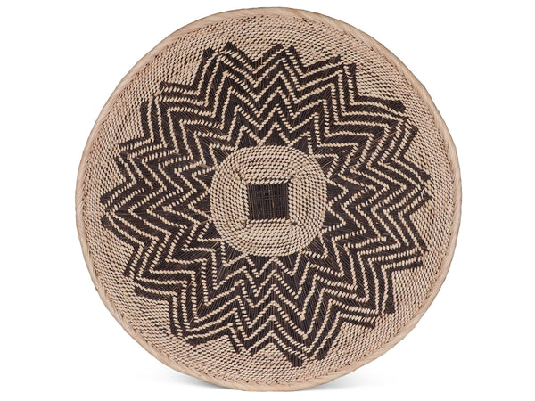 KUKHALA: Large Brown and Beige Wall Platter: 65cm dia