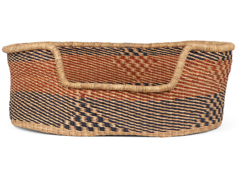 FAWAMAN: Black and Brown Geometric Woven Dog Basket -Medium