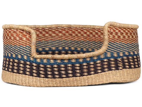 SIMTIMI: Blue and Brown Dogtooth Woven Dog Basket - Medium