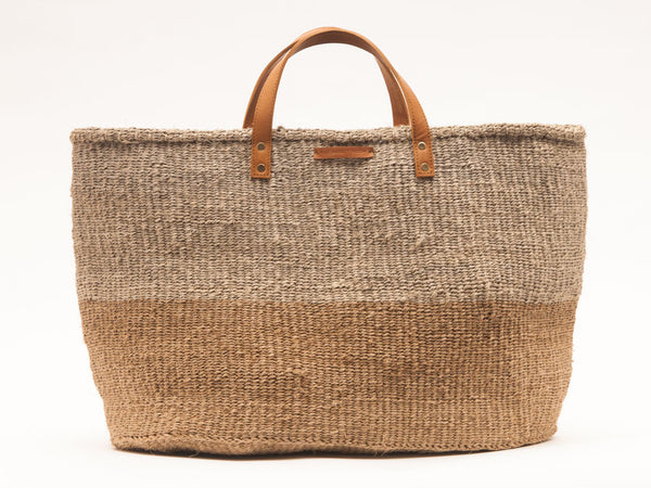 KAZA: Brown & Grey Two Tone Woven Shopper
