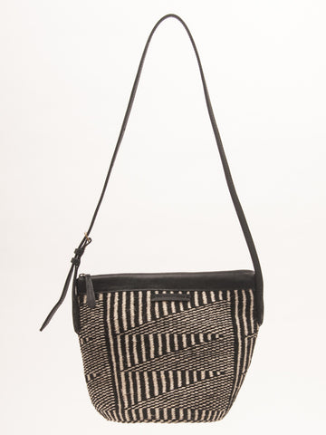 KIJITI: Monochrome Yarn & Leather Crossbody Bag