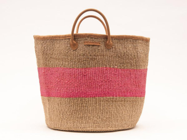 KITAMBAA: Natural and Pink Stripe Woven Laundry Basket
