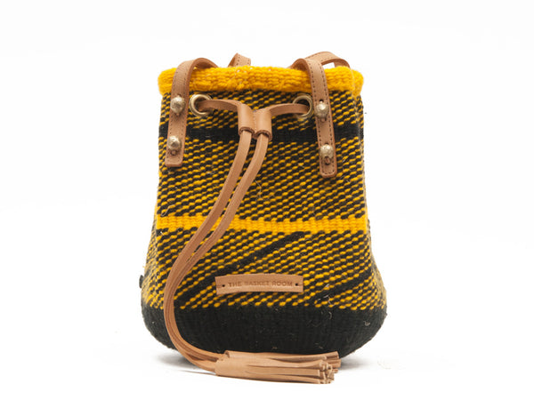 PAKA: Handwoven Yellow and Black Wool Bucket Bag