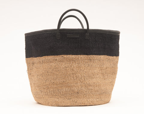 KUNDI: Natural and Black Colour Block Woven Laundry Basket