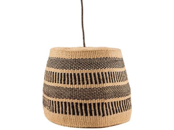 KUNI: Black/Natural Vertical Striped Pendant Shade