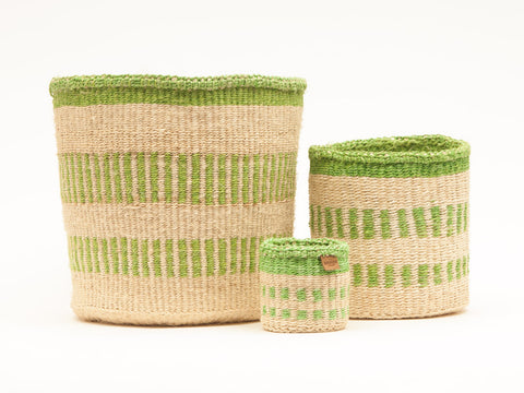 KURUDIA: Green Stripe Woven Storage Basket - Linear Fusion - The Basket Room