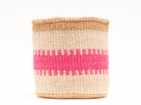 KUZUIA: Fluoro Pink and Natural Woven Storage Basket