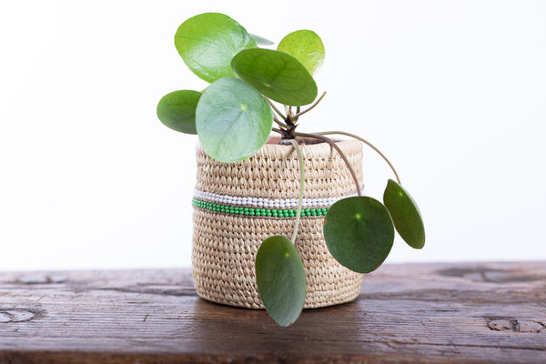 KIJANI: Green Beaded Doum Palm Leaf Baskets