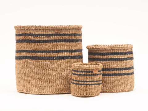 LAINI: Thin Stripe Charcoal Black & Natural Woven Storage Basket